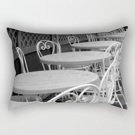 Cafe Tables and Chairs - black and white Rectangular Pillow