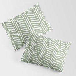 Boho, Abstract, Herringbone Pattern, Sage Green and White Pillow Sham