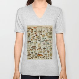Mushrooms Vintage Scientific Illustration French Language Encyclopedia Lithographs Educational Unisex V-Neck