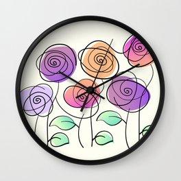 Half A Dozen Roses Wall Clock