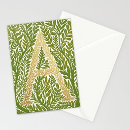 Botanical Metallic Monogram - Letter A Stationery Cards