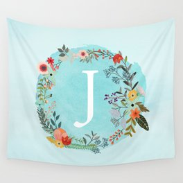 Personalized Monogram Initial Letter J Blue Watercolor Flower Wreath Artwork Wall Tapestry