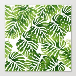 Tropical Leaves - Green Canvas Print