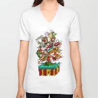 tiki V-neck T-shirts featuring Tiki Island by Doctor Juanpa