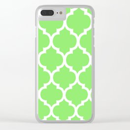 MOROCCAN LIME GREEN AND WHITE PATTERN Clear iPhone Case