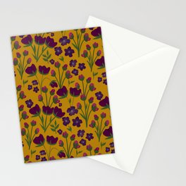 Purple and Gold Floral Seamless Illustration Stationery Cards