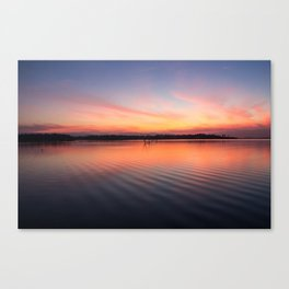 Beautiful lake at summer sunset Canvas Print