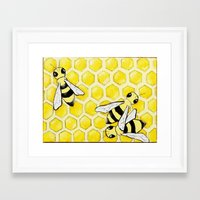 "bees Framed Art Prints featuring ""Bees"" by Nicole Jolley"
