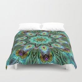 Colorful Peacock Feather Kaleidoscope Duvet Cover