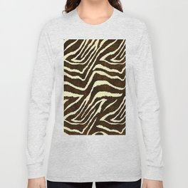 Animal Print Zebra in Winter Brown and Beige Long Sleeve T-shirt