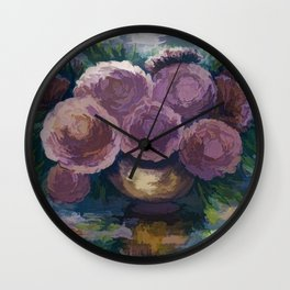 Just For You Pink Toned Roses Wall Clock