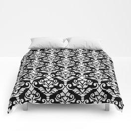 Cresta Damask Pattern White on Black Comforters