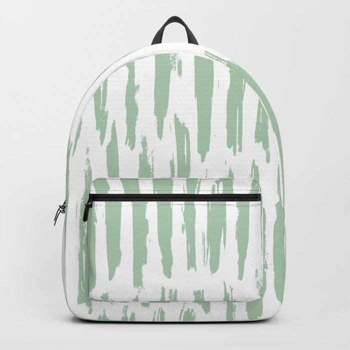 Vertical Dash Stripes Pastel Cactus Green on White Backpack