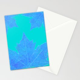 Sycamore Stained Glass Tiffany style design Ice leaf on turquoise Stationery Cards