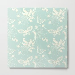 Butterfly And Floral White Light Blue Background Metal Print