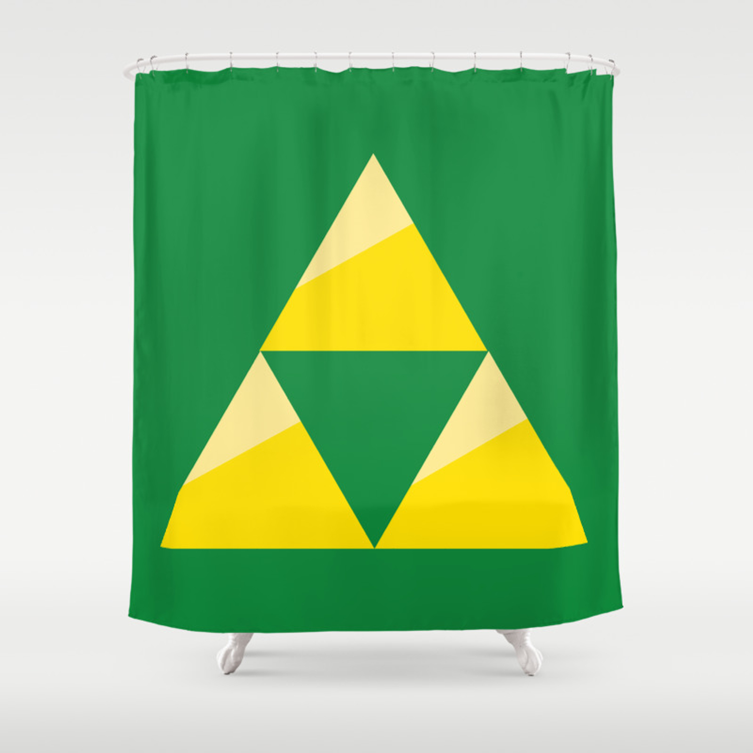 Zelda Triforce Green And Gold Shower Curtain