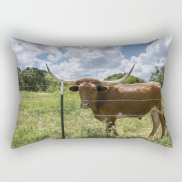 Brown Longhorn cow standing behind barbed wire fence Rectangular Pillow