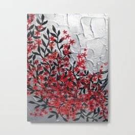 Red and black tree with textured silver background -Modern design Metal Print