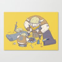 vikings Canvas Prints featuring Posturing Vikings by Barry Young