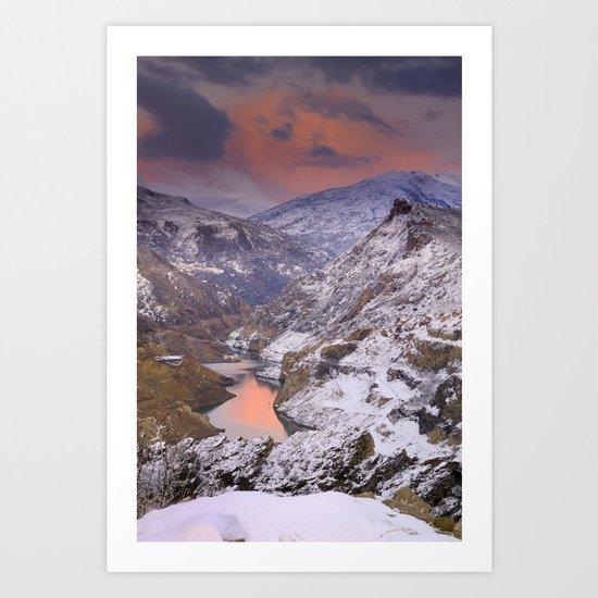 pink light after the snowstorm Art Print