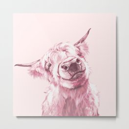Highland Cow in Pink Metal Print