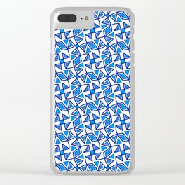 Sapphire Blue and White Pinwheel Pattern Diamond Design Triangles Southwestern Design Pattern Clear iPhone Case