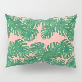 Monstera Stripe on Pink Pillow Sham