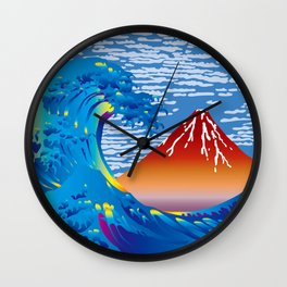 Hokusai Great Wave & Red Fuji Wall Clock