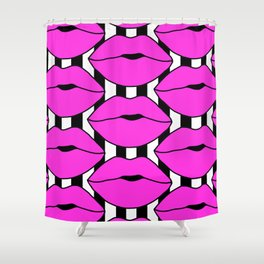 Pink Close up Stripe Lips Shower Curtain