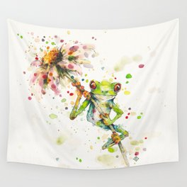Hello There Bright Eyes (Green Tree Frog) Wall Tapestry