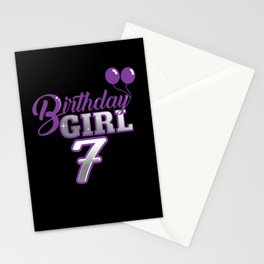 Birthday Girl 7 Year Birthday Shirt Stationery Cards