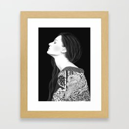 Forest and night in black & white Framed Art Print