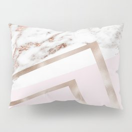 Geometric marble - luxe rose gold edition I Pillow Sham
