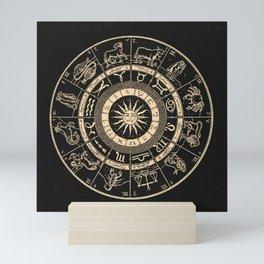 Vintage Zodiac & Astrology Chart | Charcoal & Gold Mini Art Print
