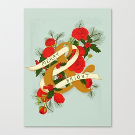 Merry and Bright Christmas Print - Soft Blue Canvas Print