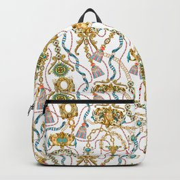 Decorative ornate luxury ancient objects. White background. Backpack