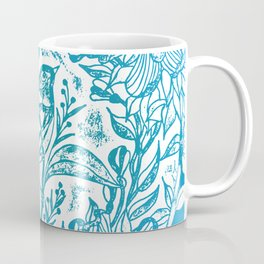 Songbird In Magnolia Wreath, Blue Linocut Coffee Mug