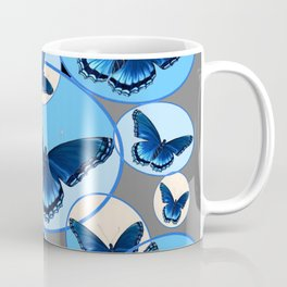 ABSTRACT MODERN ART CIRCLE PATTERNED  BLUE BUTTERFLY FLOCK Coffee Mug