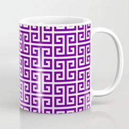 Purple and White Greek Key Pattern Coffee Mug