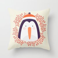 penguin Throw Pillows featuring penguin by Taranta Babu