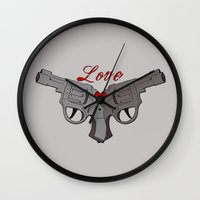guns Wall Clocks featuring Love Guns by AnnaCas