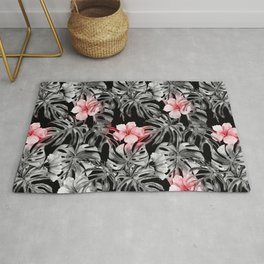 black and pink roses Rug