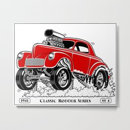1941 WILLYS Classic Rodder - RED Metal Print