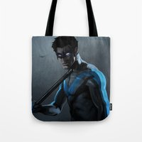 nightwing Tote Bags featuring Nightwing by Yvan Quinet