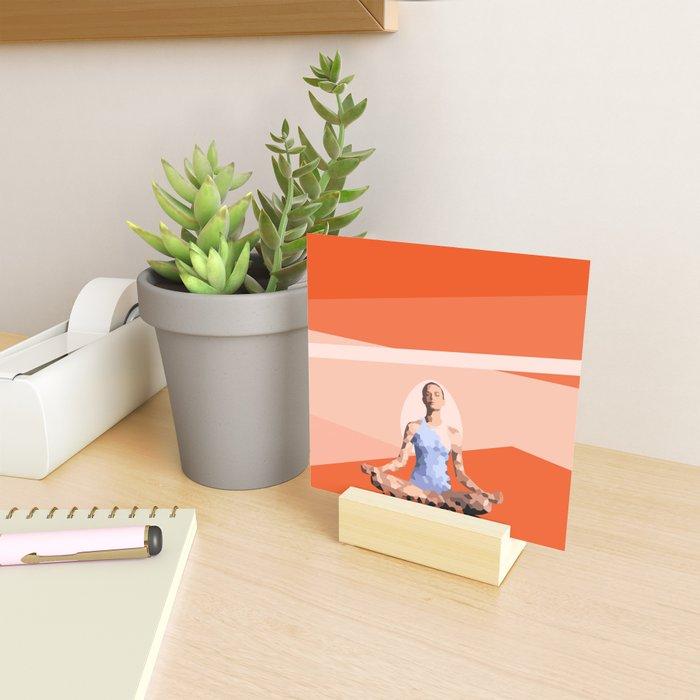 Feminine energy. A woman meditates in the Lotus position. Abstract orange painting. Mini Art Print