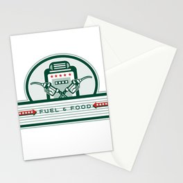 Crossed Fuel Nozzle Gas Pump Retro Stationery Cards