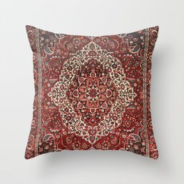 Persian Bakhtiari Old Century Authentic Colorful Deep Dark Red Tan Vintage Patterns Throw Pillow