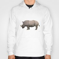 rhino Hoodies featuring Rhino by Mel Hampson