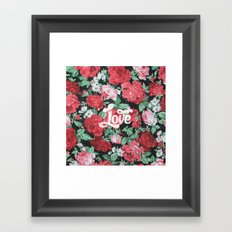 Red Pink Roses Chic Love Vintage Floral Pattern Framed Art Print
