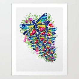 Tropical Dragonfly Garden Art Print